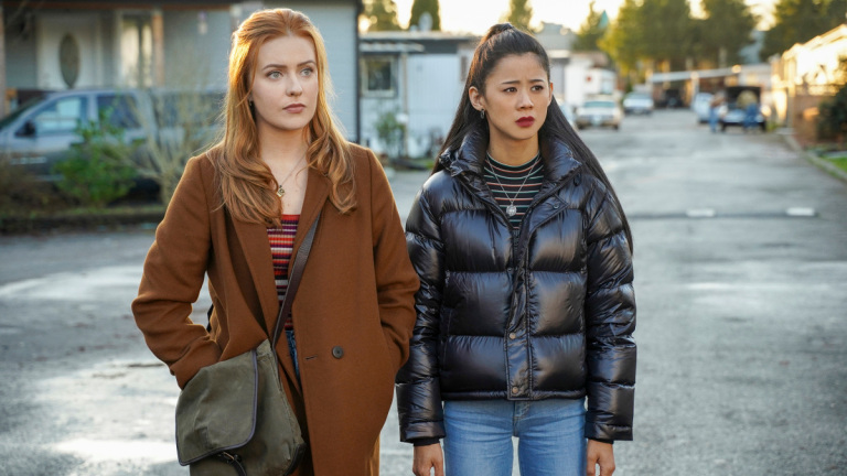 """Nancy Drew -- """"The Bargain of the Blood Shroud"""" -- Image Number: NCD209a_0896r.jpg -- Pictured (L-R):  Kennedy McMann as Nancy and Leah Lewis as George -- Photo: Colin Bentley/The CW -- © 2021 The CW Network, LLC. All Rights Reserved."""