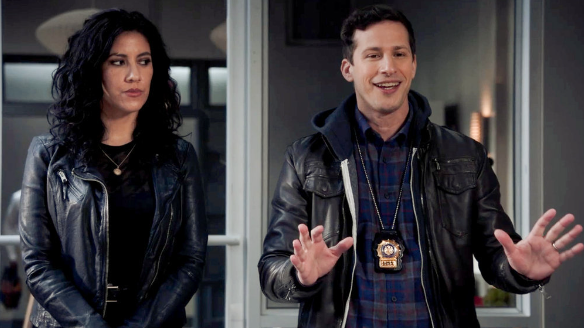 """Rosa Diaz and Jake Peralta in Brooklyn Nine-Nine's """"The Good Ones"""" and """"The Lake House"""""""
