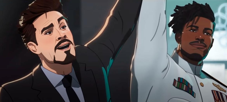 Tony Stark and Killmonger celebrating Tony's safe return to the States.